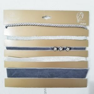 Decree Set of 4 Chokers Velvet and Silver D2